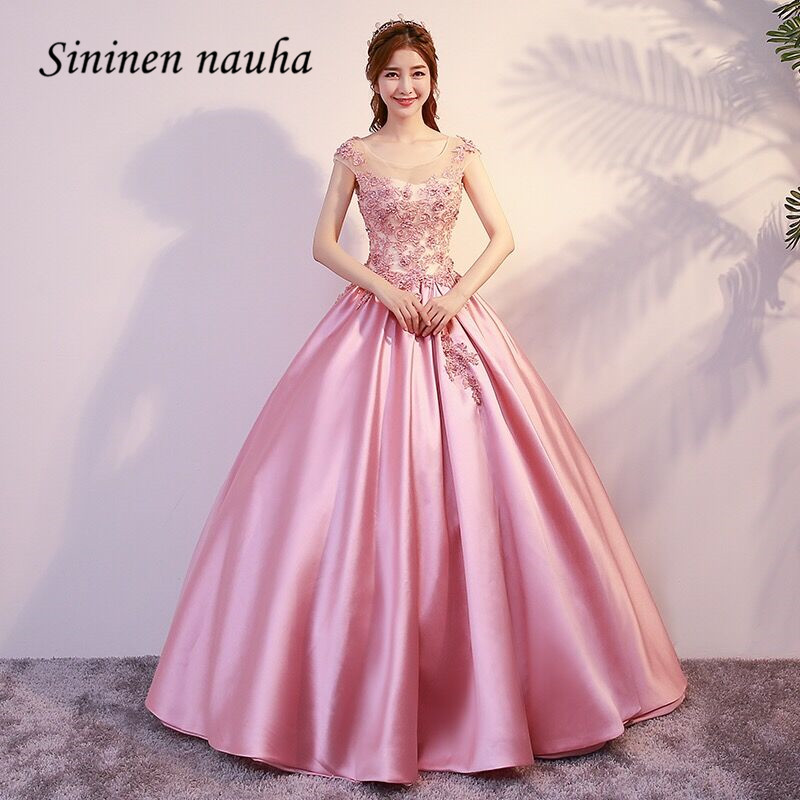 Pink Quinceanera Dresses Prom Party Dress Long Cap Sleeve Beads Lace Up Dance Ball Gown Vestidos De 15 Anos Sweet 16 Dresses 301
