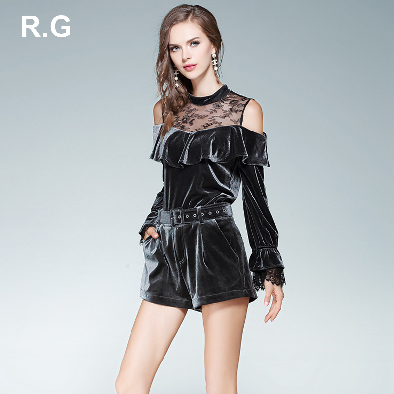 RG Fashion Ruffle Pullover Blouse Shorts Set Velvet Lace Patchwork Off-shoulder Sexy Croptop Short Pants Suit 2 Piece Set Spring