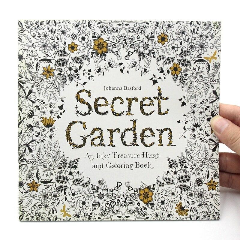 Coloriage Pour Enfants Livre A Dessin Anti Stress Pour Adultes Edition Anglaise Jardin Secret 24 Pages 1 Piece Aliexpress