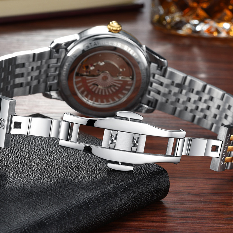 Carnival Men Automatic Watch Brief With Rhinestone Date Luxury Mechanical Watch Simple Business Watch - 3