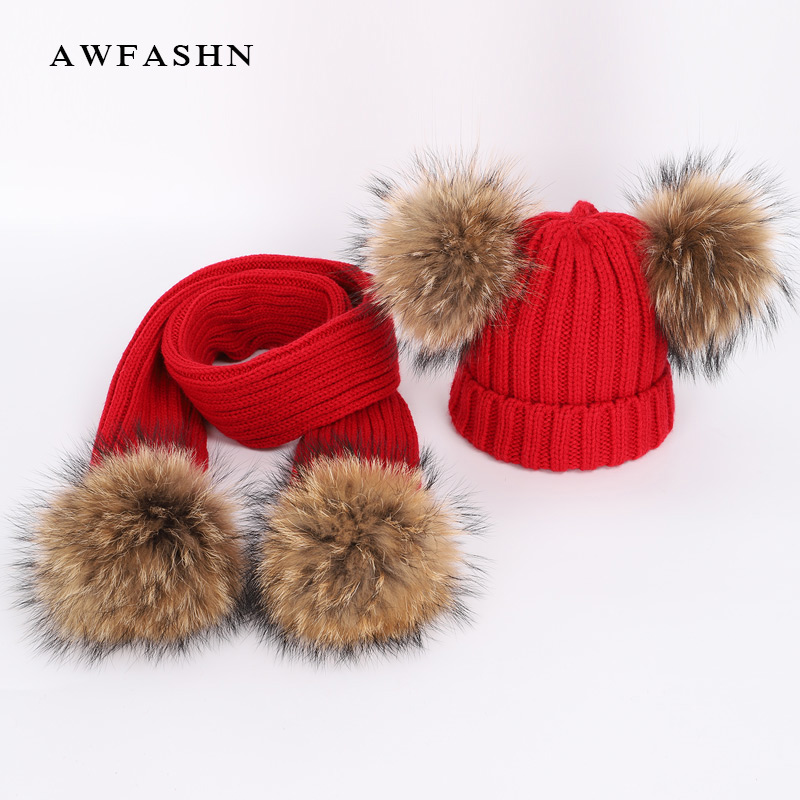 New Cute Children's Raccoon Fur pom poms Knit Beanie Hat Scarf Boy Girl Winter Thicken Hedging Cap Scarves Soft Ski Baby Kids