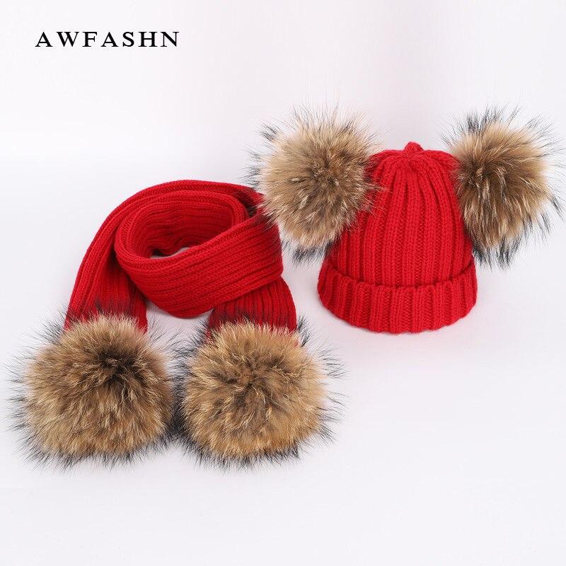 Nuevo lindo de los niños de piel de mapache pom sombrero muchacho chica invierno espesar de cobertura de bufandas suave de los niños del bebé