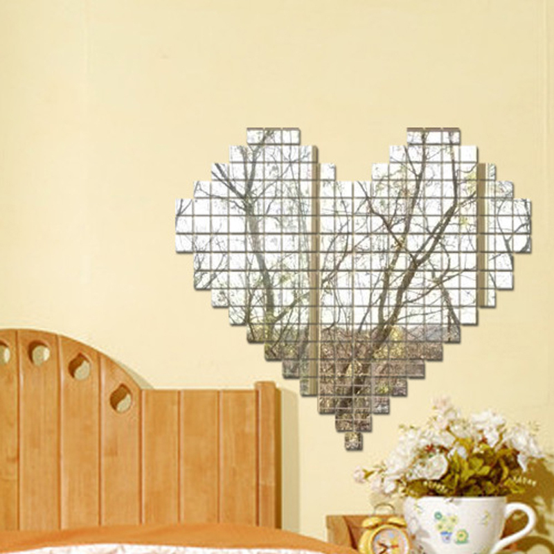Cheap Sale 1000pcs Set 2x2cm Acrylic 3d Mirror Wall