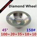 Алмазное Колесо 150 #  Алмазное покрытие 45 градусов  фрезерование торцевой поверхности  шлифовка 150 #-100*20*35*10*10