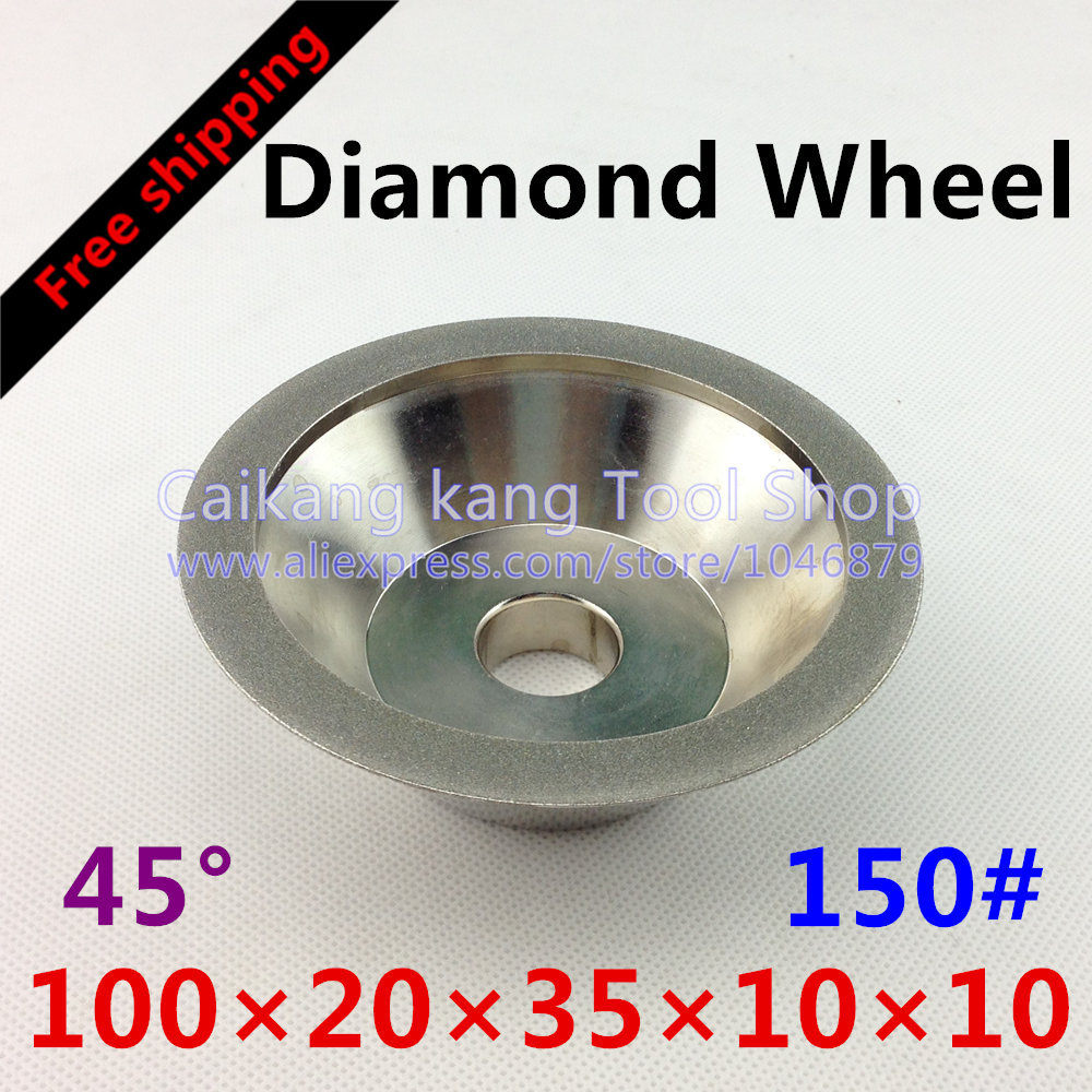 цены  Free shipping New 150 # Diamond Wheel 45 degrees Plating Milling the end face Grinding 150#-100*20*35*10*10