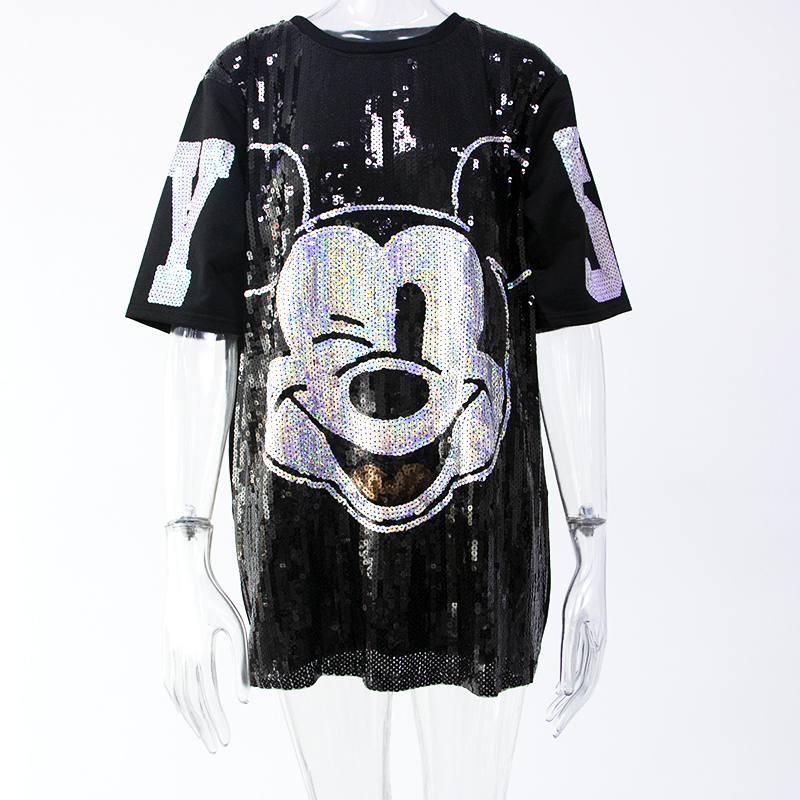 Women Summer Plus Size Dress Short Sleeve Streetwear Casual Loose O-Neck Minnie Mickey Mouse Sequin Party Club Mini Dresses 8