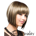 Synthetic Perruque Short Mixed Blonde Wigs Short Cut Bob Hair Style Wig for Black Woman Brown None Lace Short Wigs With Bangs