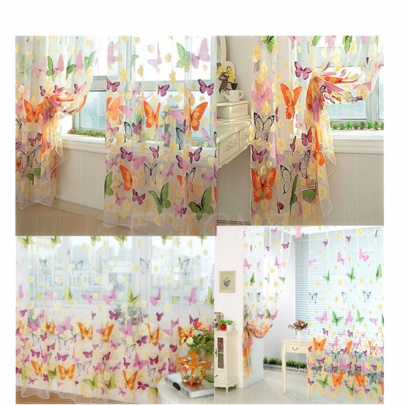 Hot 90*200cm Butterfly Sheer Voile Curtain Panel Window Patio Room Divider New Z07 Drop Shipping