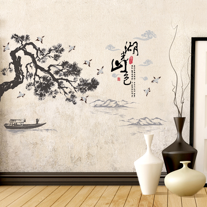 chinese style ink and wash printing diy home decorative wall sticker