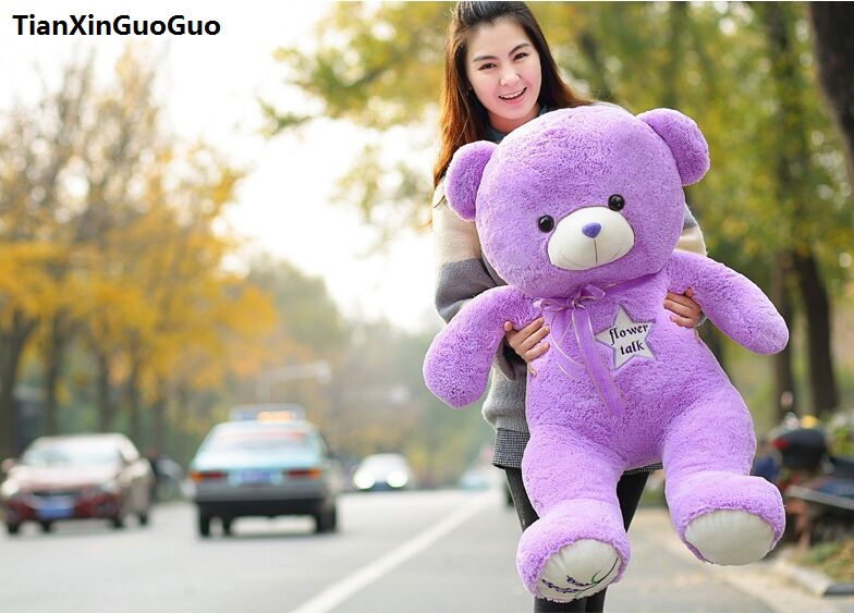 filled plush toy huge 120cm purple teddy bear plush toy flower stars bear soft doll hugging pillow Christmas gift h1450filled plush toy huge 120cm purple teddy bear plush toy flower stars bear soft doll hugging pillow Christmas gift h1450