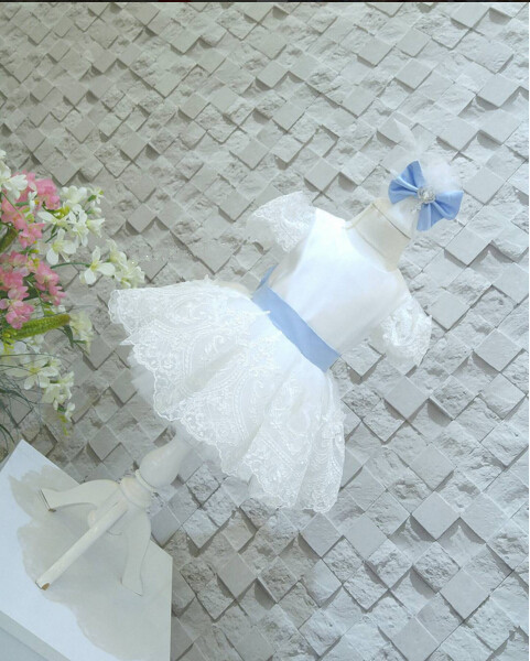 V-back White and Blue lace Flower Girl Dresses baby first Birthday Party frocks for first communion with crystals and bow