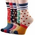 RioRiva 5pairs/Pack US 5-9/EU 35.5-40 Women Colorful Short Mid Calf Crew Socks Polka Dot Stripes Multi Colored Ankle Sox Soks