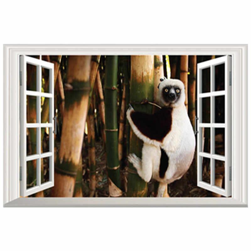 חמוד קוף פוסטר במבוק יער נוף 3d מזויף חלון ויניל קיר מדבקות בית משתלת קישוט בעלי החיים טפט 60*40cm
