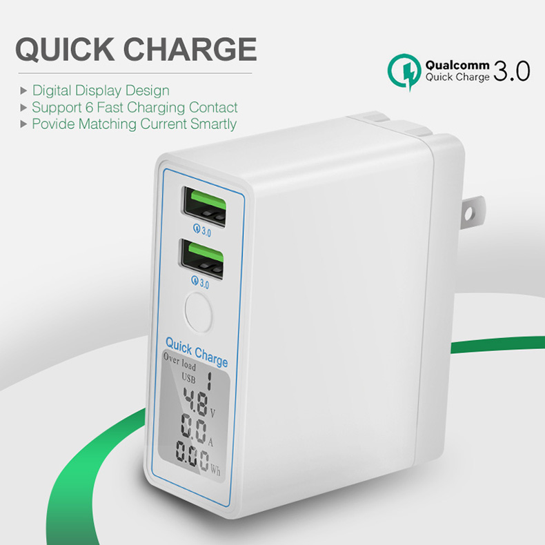 36W Dual USB Quick Charge 3.0 Charger Adapter Led Display Smart Charger (3)
