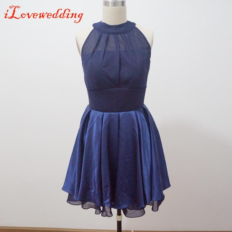 Custom Made Navy Blue Bridesmaid Dresses Sleeveless Scoop Neck