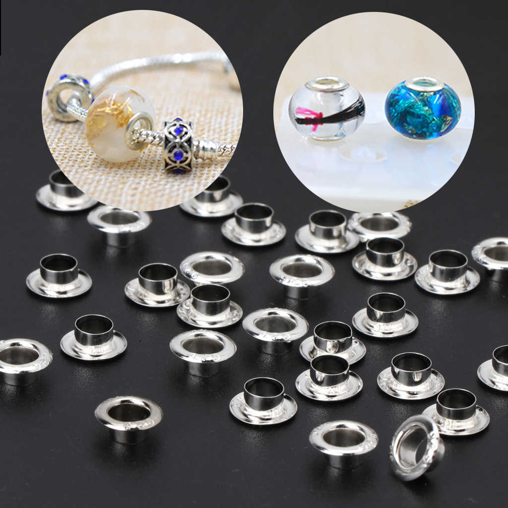 30Pcs 925 Sterling Silver Smooth Beads Cap Large Hole Beads For Jewelry Making