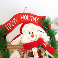 2017 NEW Hot Sale Merry Christmas Ornaments SantaSnowman Toy Claus Party Poinsettia Pine Wreath Door Wall