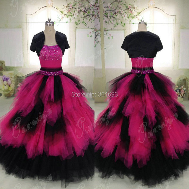 Oumeiya Orw448 Real Pictures Puffy Princess Ball Gown Hot Pink And Black Wedding Dress 2017