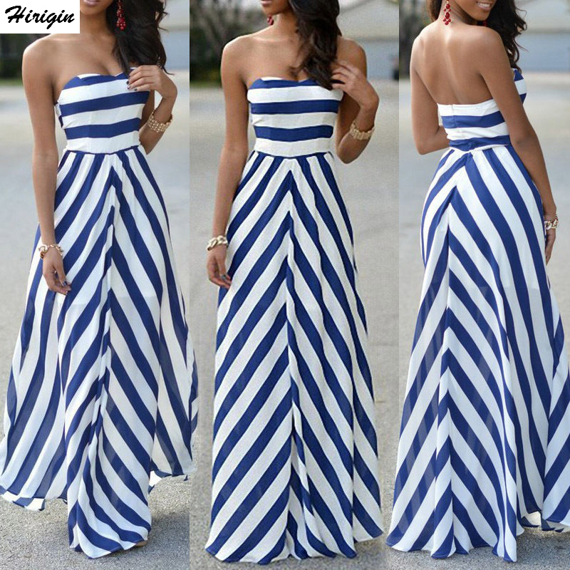 Hirigin Striped Women Sexy Summer Maxi Long Dress Strapless Elegant Evening Party Beachwear Dress Holiday Casual Sundress