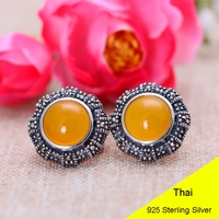 925 Sterling Silver Round Yellow Chalcedony Clip Earring Women Vintage Thai Silver Gift Brincos Aretes Jewelry CH050283
