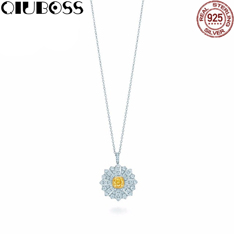 QIUBOSS Fashion And Simplicity Daisy Pendant Necklace TIFF 925 Sterling Silver Nature Fashion Jewelry fashion 925 sterling silver vintage nature beeswax