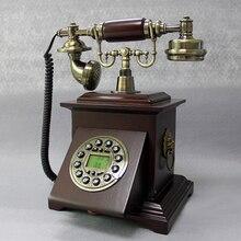 Мода телефон старинные деревянные телефон бытовой установлены стационарный телефон синий Подсветка+ громкой связи Идентификатор вызывающего абонента
