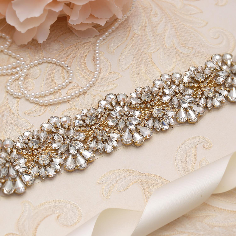 MissRDress Gold Crystal Flower Bridal Belt Big Size Wedding Belt Rhinestone Bridal Sash For Wedding Long Dresses JK820