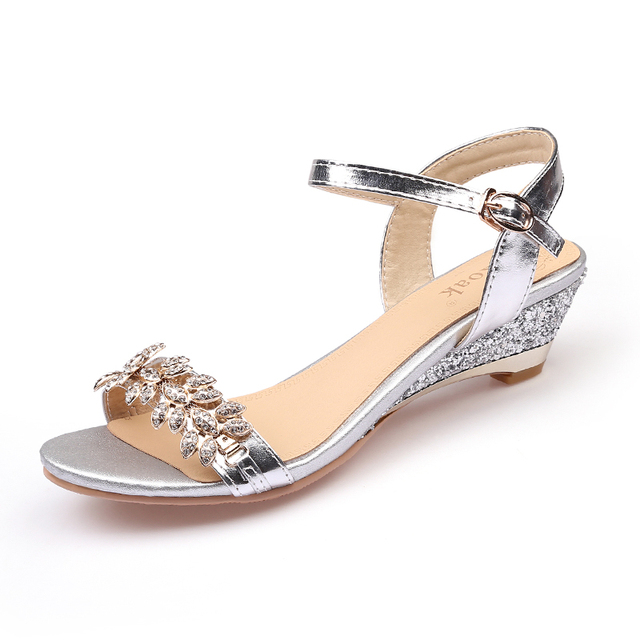 Ekoak New 2017 Summer Fashion Women Sandals Sexy Crystal Bling Medium Heels Shoes Woman Wedges Sandals Party Dress Shoes