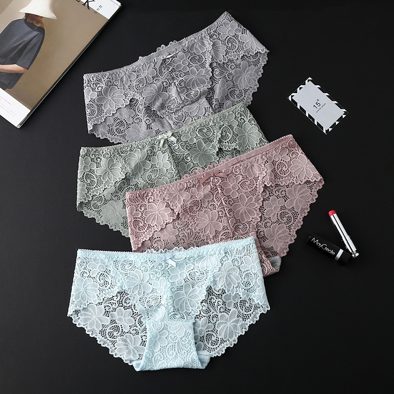 Deruilady Elegant Lace   Panties   Women Super Soft Breathable Briefs Low Rise Floral Hollow Out Quality Women   Panties   Sexy Lingerie