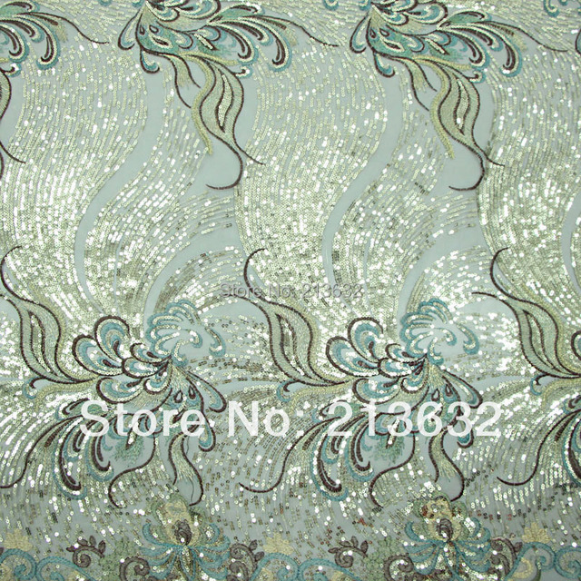 Poz48 Sewing Machine Polyester Mesh Sequin Embroidery Fabric