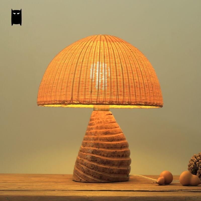 Handmade Bamboo Wicker Rattan Shade Table Lamp Fixture
