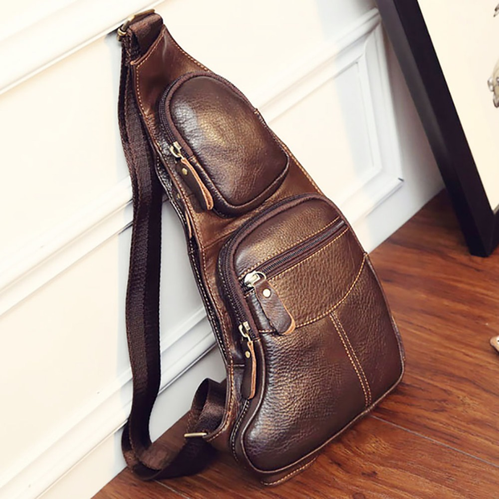 Alta calidad hombres de cuero genuino Vintage Sling pecho trasero paquete de viaje moda Cruz cuerpo bolsa de mensajero del hombro
