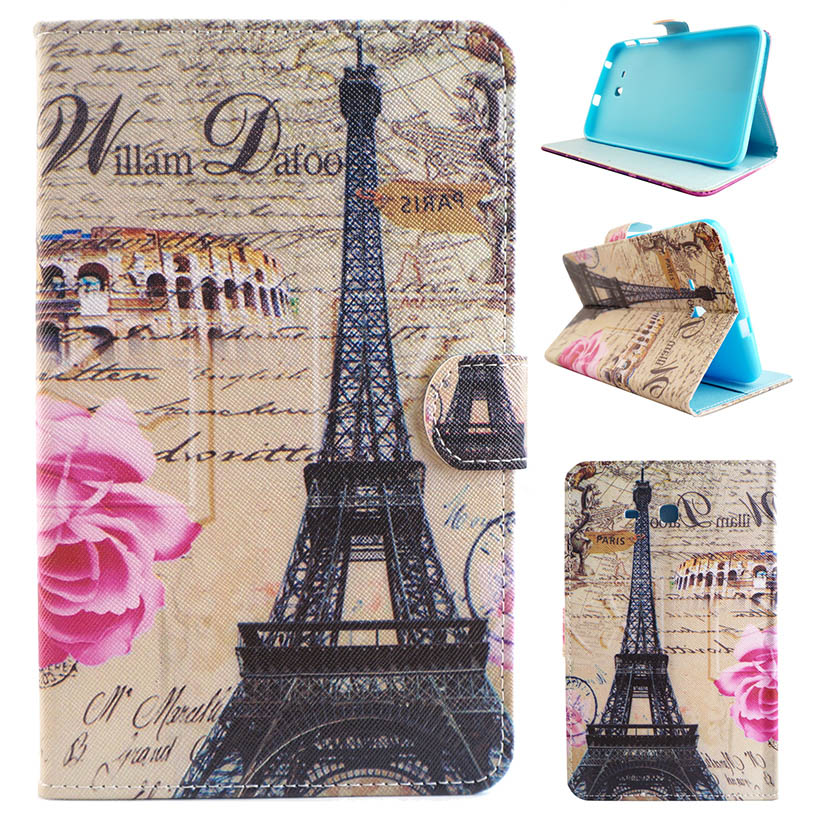 Tablet Painted PU Cases For Samsung Galaxy Tab 3 Lite 7.0/T110/T111/T113/T116 7