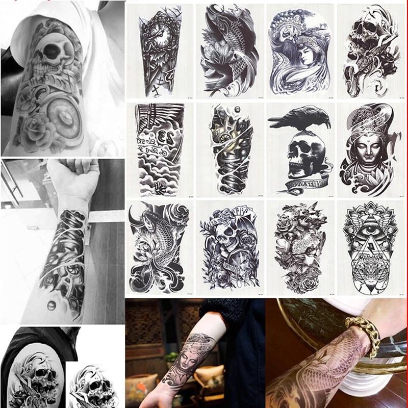 6 Sheets Wrist Body Art Henna Tattoo Stencil Flower: 12 Sheets 3D Waterproof Body Art Tattoo Sticker Handsome