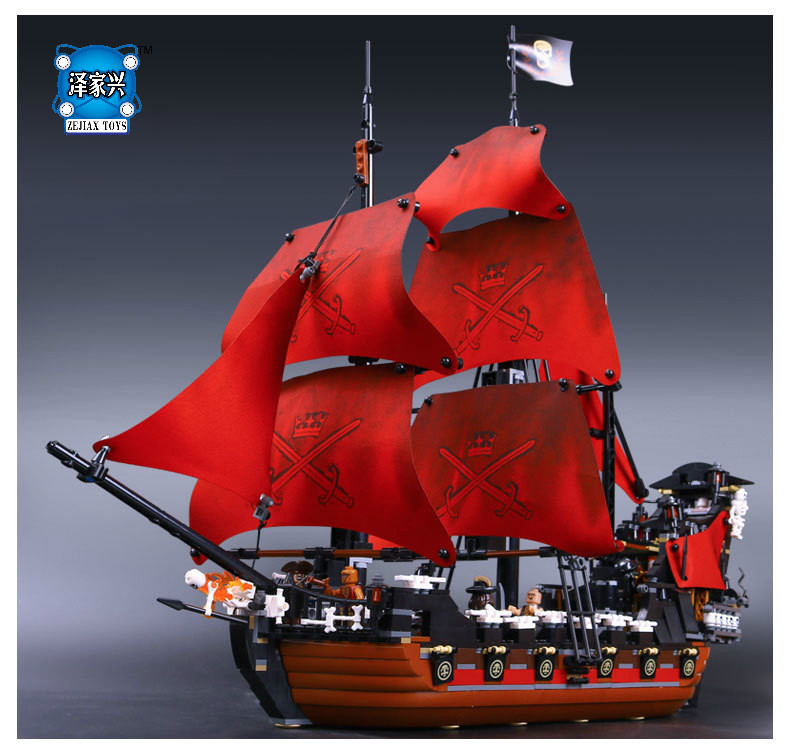 1151Pcs Pirates of The Caribbean Queen Anne's Reveage Model Building Kits Blocks Lepines Brick Toys Gift for Kids 1717pcs new 22001 pirates of the caribbean imperial flagship diy model building blocks big toys compatible with lego