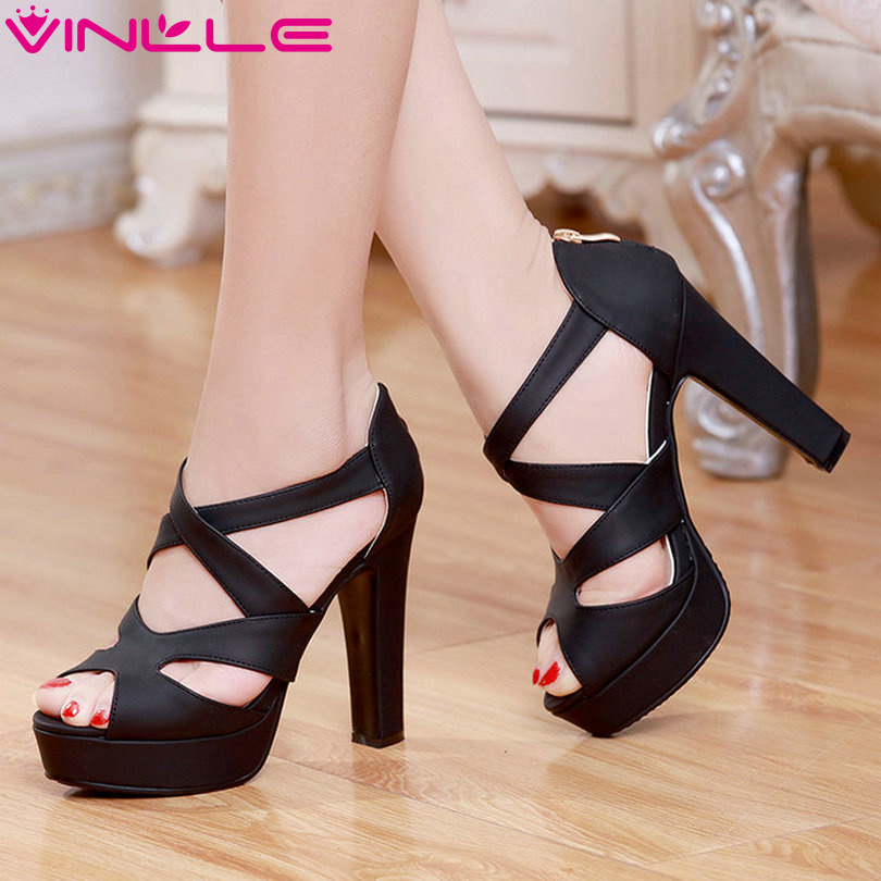 ФОТО VINLLE 2017 Woman Pumps Thick High Heel Sexy Peep Toe Black Gladiator Summer Women Shoes Zipper Wedding /Dating Shoes Size 34-43