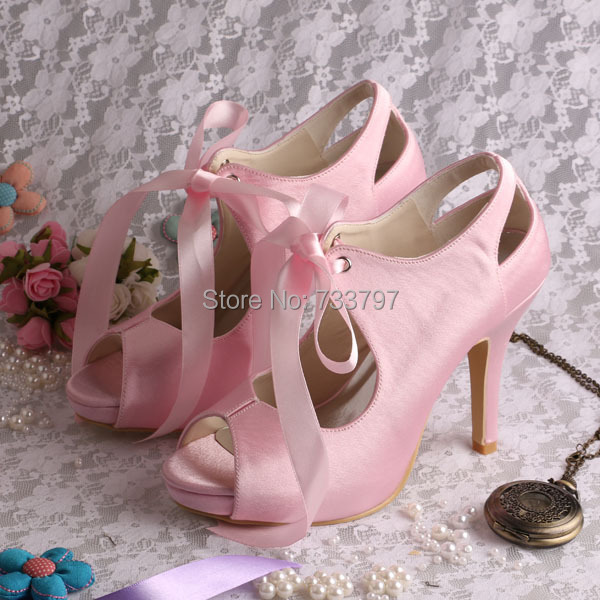 (20 Colors) Hot Selling Lace up Ladies Bridal Wedding Shoes Pink High Heels Open Toe Dropshipping
