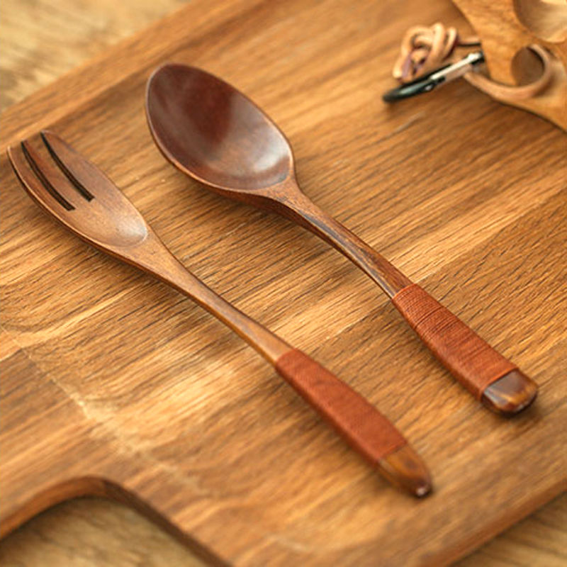 Set of 2 Wood Fork and Spoon Set Japanese Style Long Handle Wooden Salad Fork Rice Soup Spoon Set Wood Cutlery Set Dinnerware (7)