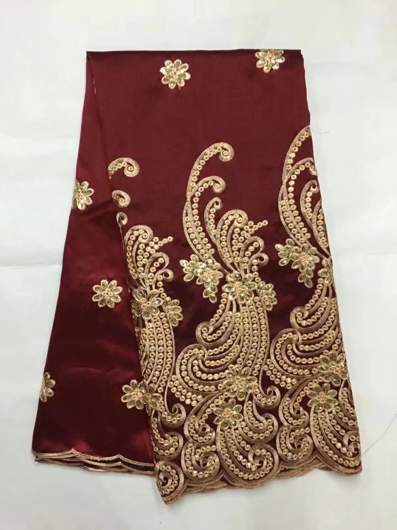 2018 Latest Nigerian George Lace High Quality New Silk African Indian George Fabric Red gold Sequin