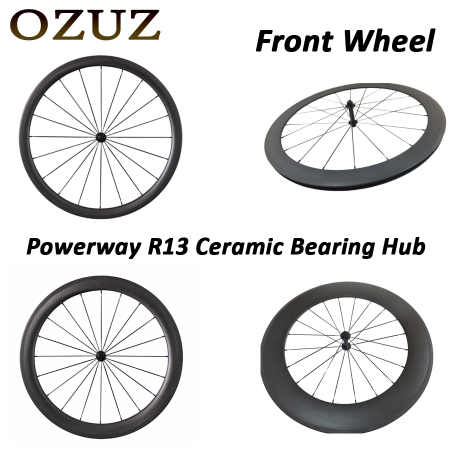 Powerway R13 Ceramic Bearing Hub OZUZ 700C 24mm 38mm 50mm 60mm 88mm Clincher Tubular Road Bike Bicycle Carbon Wheels Front Wheel carbon wheels tubular clincher powerway r13 hub wheels 38mm 50mm 60mm 88mm road carbon bicycle wheels cheapest sale