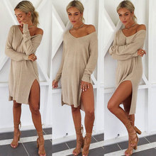 Dress autumn and winter sexy nightclub casual wild color trend round neck off-shoulder side slit long-sleeved women's dress army green side slit off the shoulder long sleeves dress
