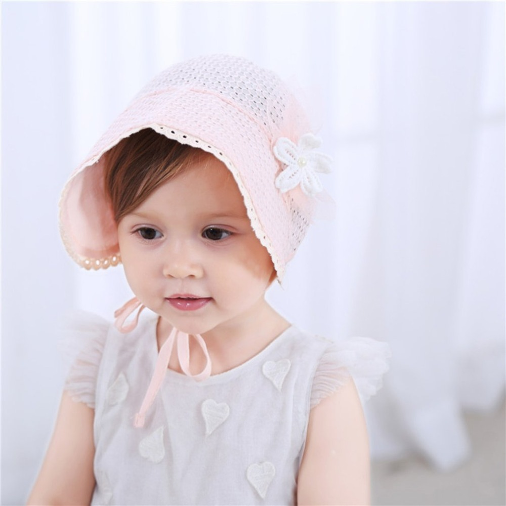 Sweet Princess Hollow Out Baby Girl Hat Lace-Up Beanie Coton Bonnet Floral Cap