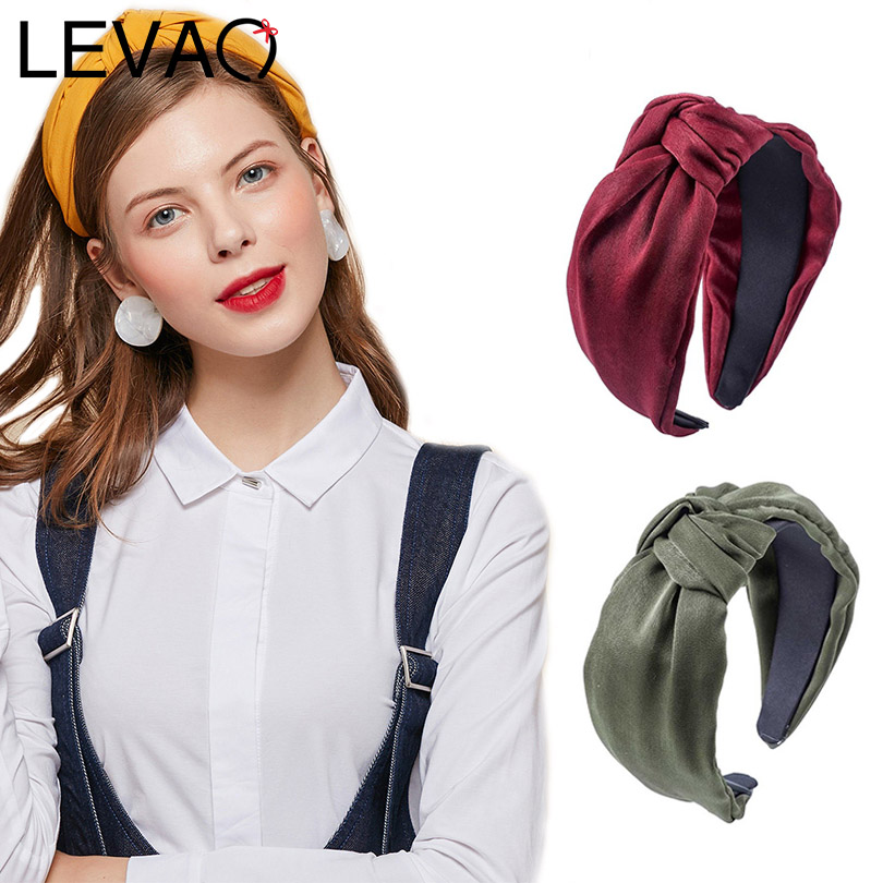 LEVAO New Women Vintage Wide-brimmed Solid Knotted Bezel Turban Headband Design Lady Hairbands Girls Hair Accessories   Headwear
