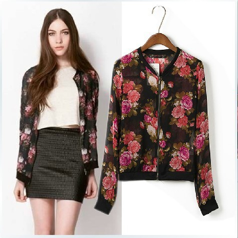 Vintage Floral Bomber Jacket - Coat Nj
