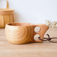 Travel wooden bowl outdoor portable water bottles easy carry travel portable wood eco friend original wood handmade
