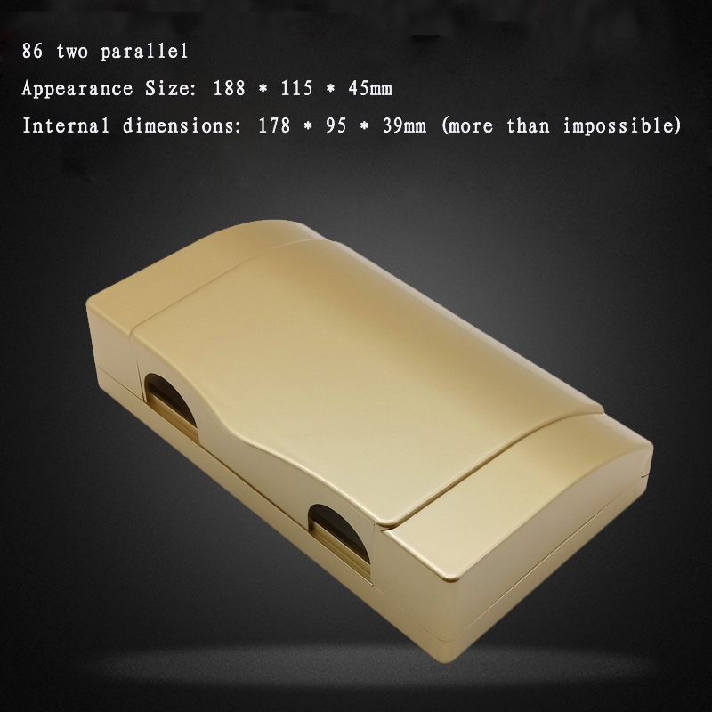 цена на 2pcs 86 Type Two Electrical Switch Socket Waterproof Box Panel Protective Cover Plate Champagne Gold Double Split Splash Box