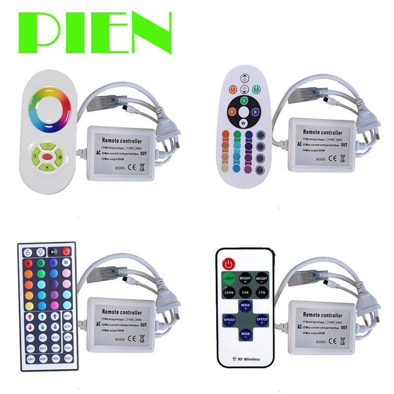 LED Strip RGB Controller 220V 110V for RGB 5050 IP67 rope light with RF IR Touch panel remote control US EU Plug Free shipping 110v 220v 1500w rgb controller led dimmer 5key rf touch remote control eu plug us plug free shipping