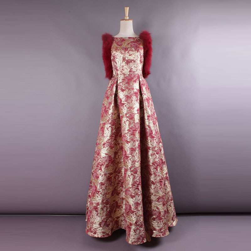 2017 High Quality Spring And Summer Newest Luxurious Fashion Printing  Sleeve Slim Formal Full Classical Long Dress