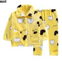 Famli Baby Kids Winter Flannel Pajamas Sets Children Girl Warm Thick Fleece Jacket Pant Sleepwear Boys