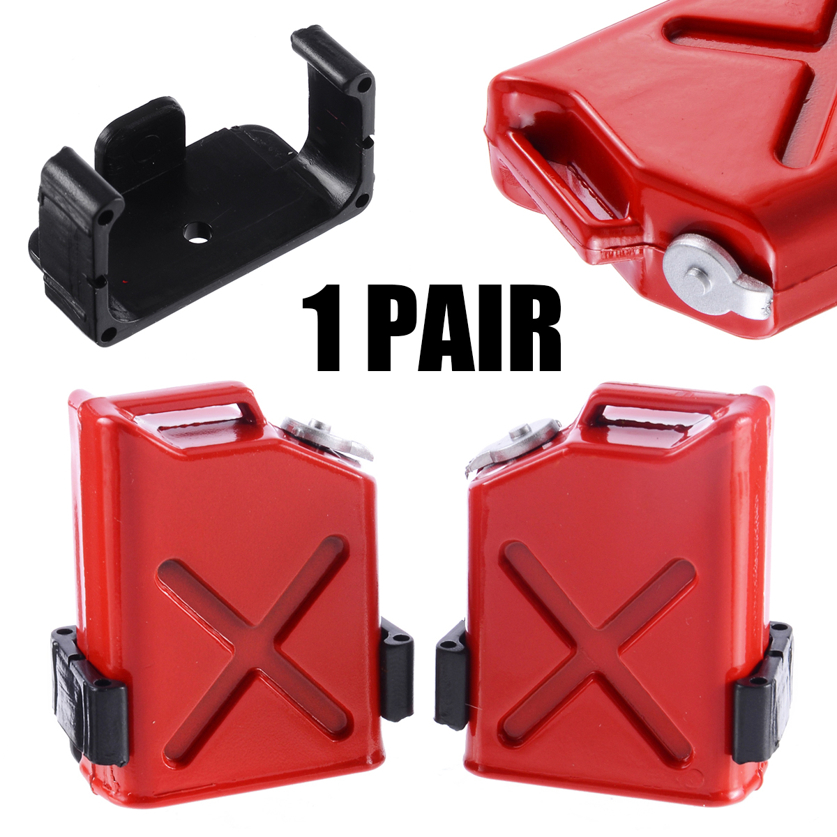 1 Pair Scale 1:10 RC Rock Crawler Truck Cars Accessory Red Gas Cans With Brackets Plastic DIY Decoration Simulation Fittings